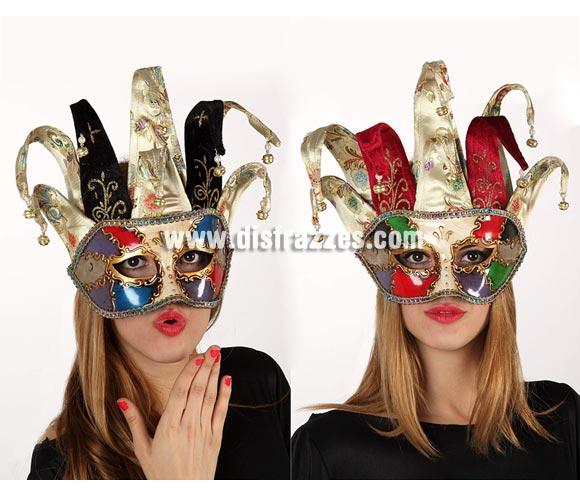 Máscara Veneciana Arlequín con cascabeles. Talla Universal. Dos modelos surtidos, precio por unidad, se venden por separado.