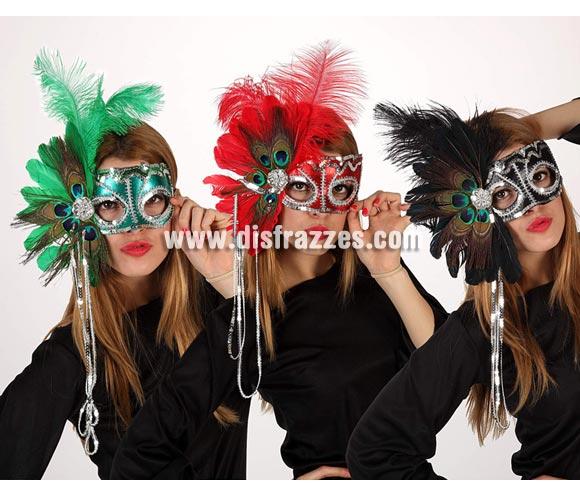 Antifaz Veneciano con plumas. Talla universal. Tres modelos surtidos, precio por unidad, se venden por separado. Máscara Veneciana.