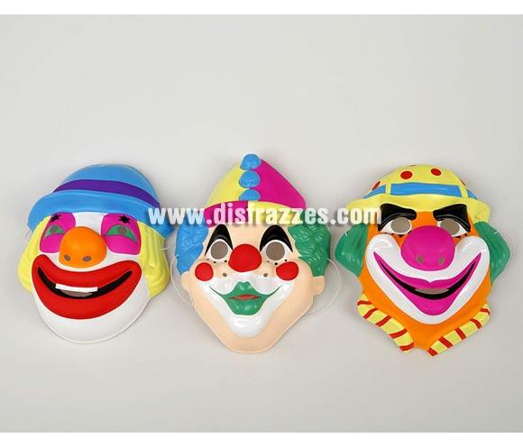 Máscara de Payaso Infantil de PVC. Tres modelos surtidos, precio por unidad, se venden por separado.