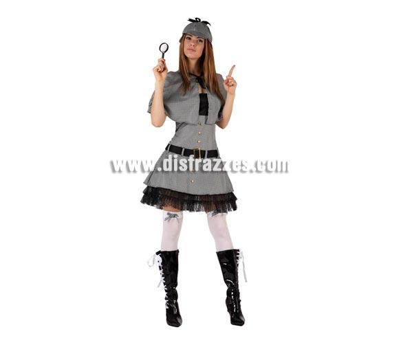 Disfraz de Detective sexy para mujer. Talla 2 ó talla Standar M-L 38/42. Incluye vestido, capa y gorra. Disfraz de Sherlock Holmes para mujer.