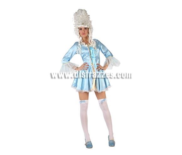 Disfraz de Cortesana Azul sexy para mujer. Talla 2 ó talla standar M-L 38/42. Incluye vestido. Peluca y medias NO incluidas, podrás encontrar en nuestra sección de Complementoss. Disfraz de Lady Versalles para mujer.