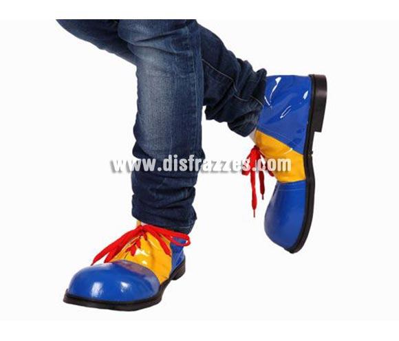 Par de Zapatos o Zapatones de Payaso azul y amarillo de 30 cm. para mujer.