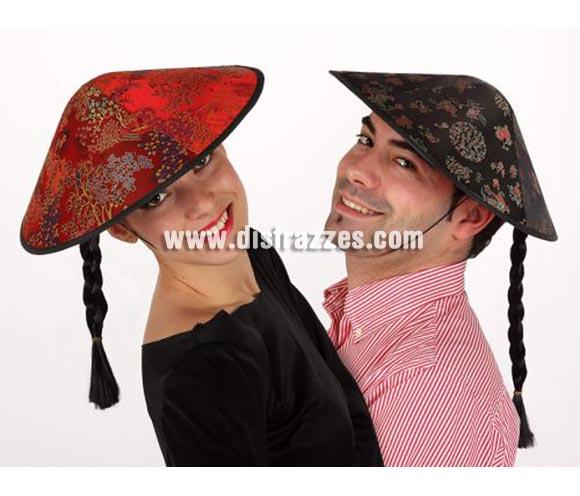 Sombrero Chino con trenza negra. Dos Modelos surtidos, precio por unidad, se venden por separado.