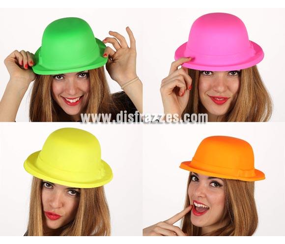 Sombrero Bombín fluorescente de plástico. Cuatro colores surtidos, precio por unidad, se venden por separardo.