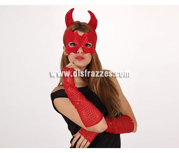 Set Demonio rojo de lentejuelas. Incluye diadema, antifaz y guantes. Ideal para despedidas de Soltera y para Halloween.