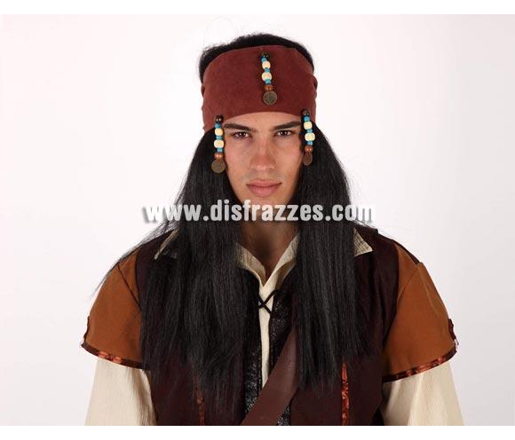 Peluca de Pirata larga negra con pañuelo marrón. Talla universal.