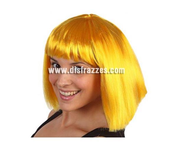 Peluca Amarilla media melena con flequillo. Talla Universal. Peluca Cleopatra.