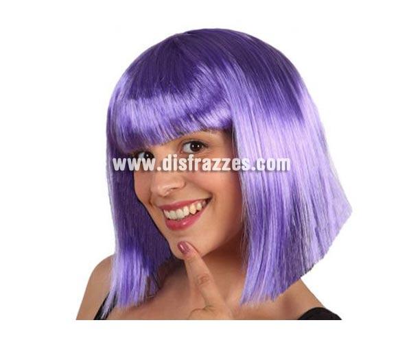 Peluca Púrpura media melena con flequillo. Talla univesal. Peluca Cleopatra.