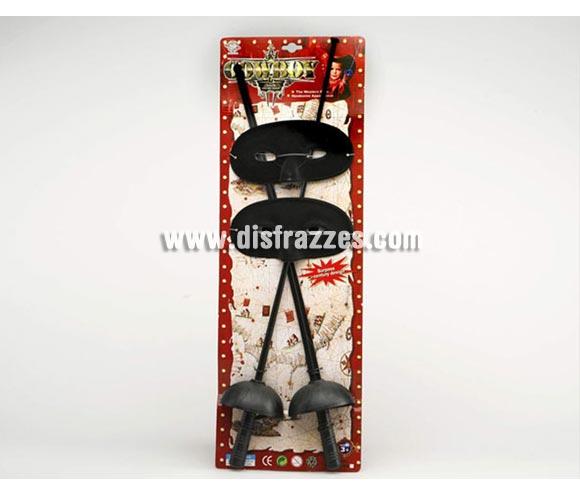 Set barato de 2 espada y 2 máscaras de 63x21 cm. Perfecto como Complemento del disfraz de Mosquetero o Mosquetera y de El Zorro.