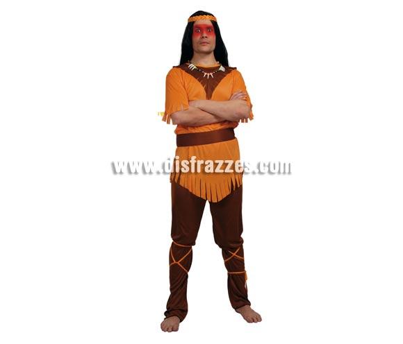 Disfraz barato de Indio para hombre. Talla standar 52/54. Incluye casaca, cinturón, pantalón y cintas de las piernas. Collar NO incluido, podrás verlo en la sección de Complementos.