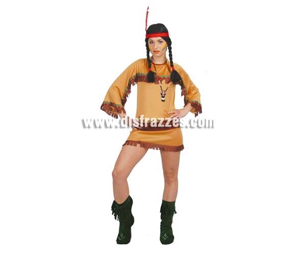 Disfraz barato de India del gran cañon para mujer. Talla standar válida hasta la 42/44. Incluye cinta de la cabeza y vestido.