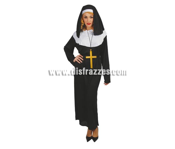 Disfraz barato de Monja adulta para Carnavales. Talla única válida hasta la 42/44. Incluye cofia y vestido.