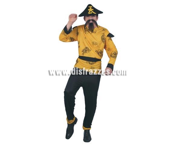 Disfraz de Chino amarillo para hombre. Talla universal 52/54. Incluye sombrero, camisa, cinturón y pantalón. Bigote y perilla NO incluidos, podrás verlos en Complementos.