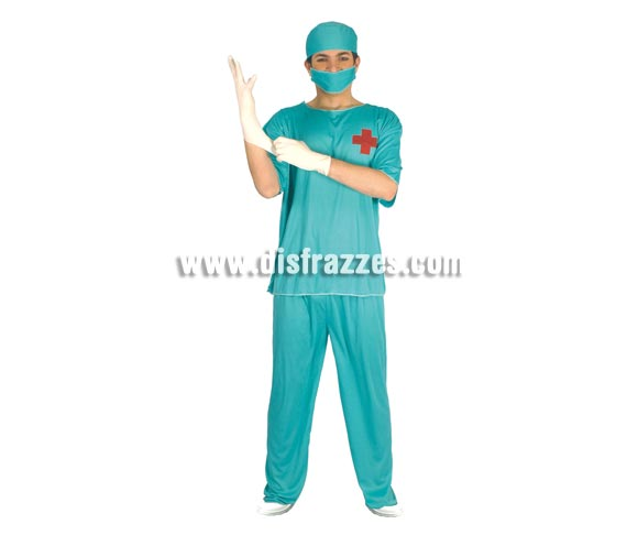 Disfraz de Cirujano Adulto. Talla única 52/54. Incluye gorro, mascarilla, camiseta y pantalón.