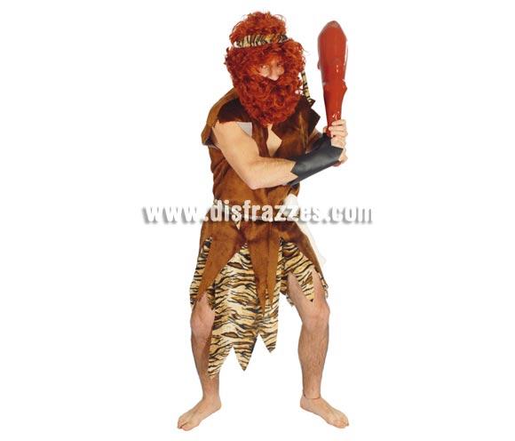 Disfraz de Cavernicola  o Troglodita adulto. Talla única 52/54. Incluye cinta cabeza, traje, cinturón y muñequeras. Hueso, maza y peluca NO incluidas, podrás verlos en la sección de Complementos.