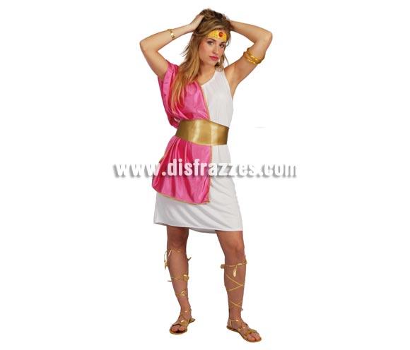 Disfraz de Romana adulta. Talla única válida hasta la 42/44. Incluye cinta de la cabeza, vestido, toga, cinturón y cintas de las piernas. Disfraz de Romana Sexy para mujer.