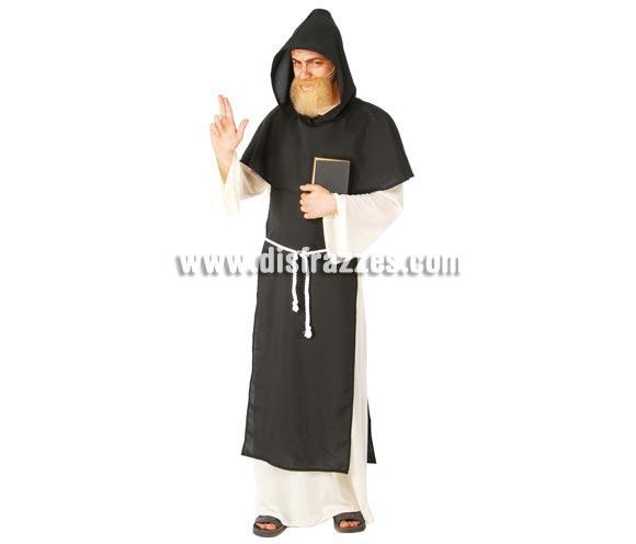 Disfraz de Monje Dominico adulto. Talla única 52/54. Incluye capucha, capa, túnica y cinturón.