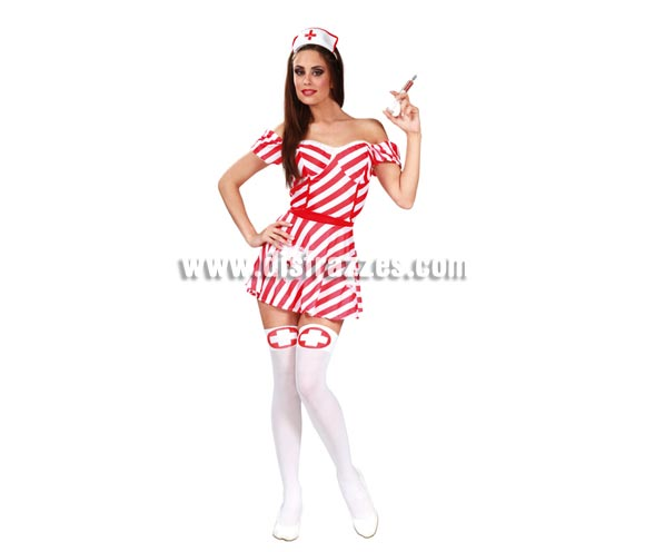 Disfraz de Enfermera sexy para mujer. Talla única 38/40. Incluye cofia y vestido. Medias y jeringuilla NO incluidas, podrás ver ambas cosas en la sección de Complementos.
