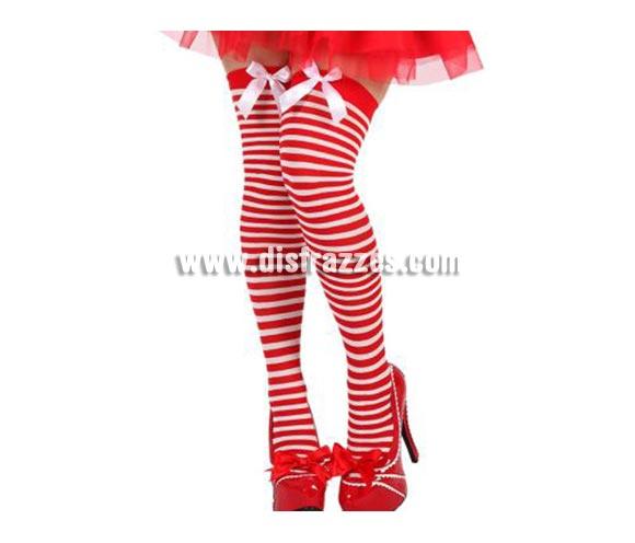 Medias Liga Mamá Noel a rayas con lazo. Talla universal. También sirven para los disfraces de Marinera.