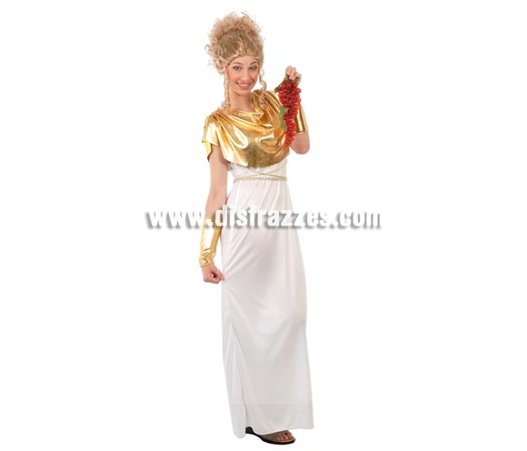 Disfraz barato de Griega para mujer. Talla standar válida hasta la 42/44. Incluye vestido, manguitos y cinturón.