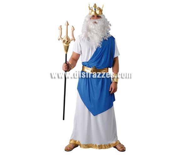 Disfraz de Neptuno para hombre. Talla Universal 52/54. Incluye corona, túnica, cinturón y muñequeras.