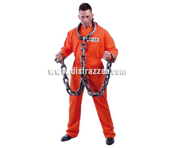Disfraz de Convicto para hombre. Talla universal 52/54. Incluye el mono naranja. Éste disfraz de Preso o Presidiario puede valer tanto para Halloween como para Carnavales.