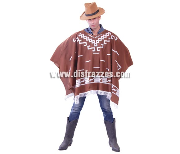 Disfraces - Poncho Western para hombre. Talla universal 52/54. El precio incluye sólo poncho.