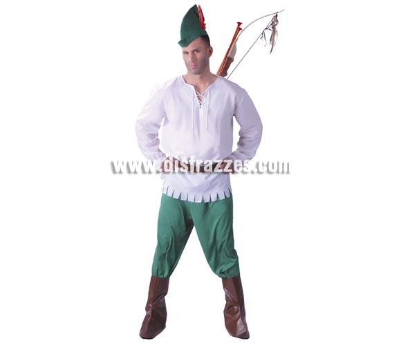 Disfraz de Robin Hood para hombre. Talla Universal 52/54. Incluye gorro, camisa, cinturón, pantalón y cubrebotas.