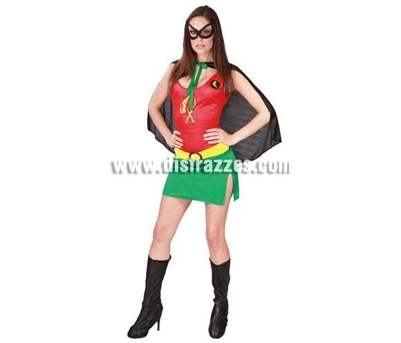 Disfraz sexy de Heroína para mujer. Talla única 38/40. Incluye antifaz, capa, vestido y cinturón. Con éste disfraz serás la pareja perfecta de tu chico si éste se disfraza de Batman, serás su Robin perfecta.