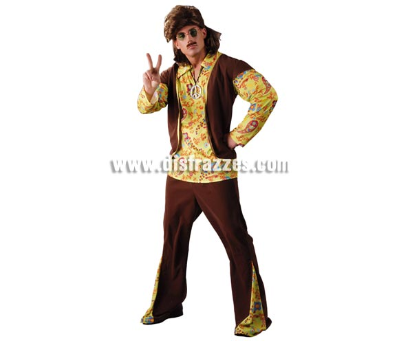 Disfraz de Hippie para hombre. Talla Universal 52/54. Incluye camisa, chaleco y pantalones.