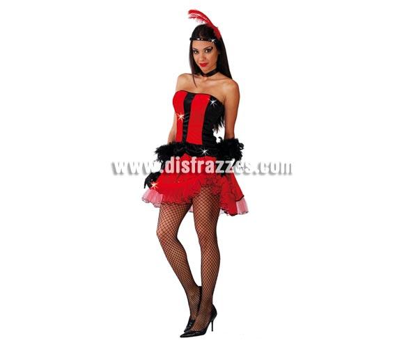 Disfraz sexy de Can-Can rojo para mujer. Talla standar válida hasta la 42/44. Incluye diadema, top y falda.