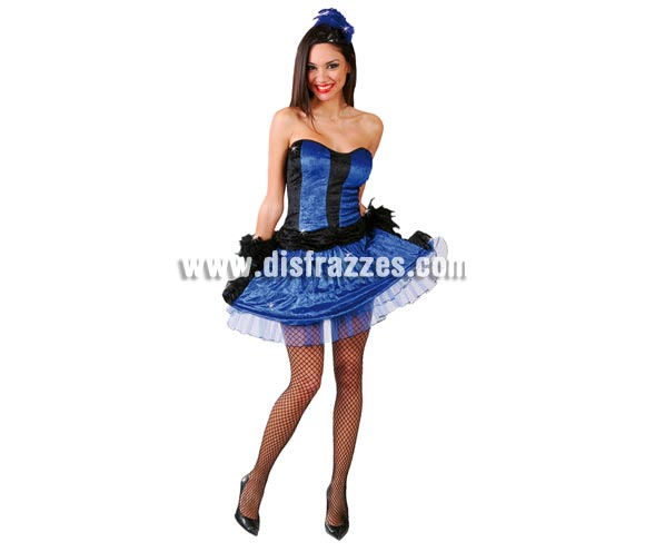 Disfraz sexy de Can-Can azul para mujer. Talla standar válida hasta la 38/40. Incluye diadema, top y falda.
