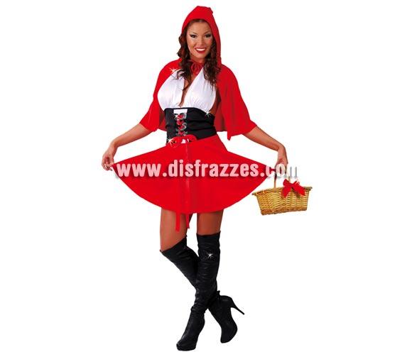 Disfraz barato de Caperucita Roja para mujer. Talla única 38/40. Incluye vestido y capa con capucha.