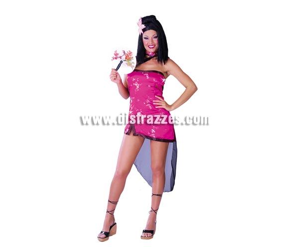 Disfraz de Japonesa sexy para mujer. Talla única 38/40. Incluye sólo el vestido. Podrás ver pelucas y el abanico en la sección de Complementos.