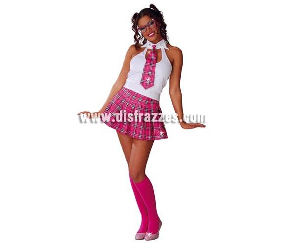 Disfraz de Colegiala sexy para mujer. Talla única 38/40. Incluye corbata, camisa y falda. Gafas NO incluidas, las podrás ver en la sección de Complementos con la ref. 18086GUI.
