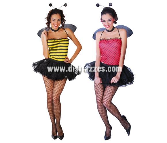 Disfraz de Abeja y Mariquita sexy 2 x 1 para mujer. Talla única 38/40. Incluye diadema, alas, top reversible y tutú. Bonito y original disfraz con el que te puedes disfrazar de 2 formas distintas, según te apetezca y si lo cuidas, te puede servir para el año que viene y cambias.