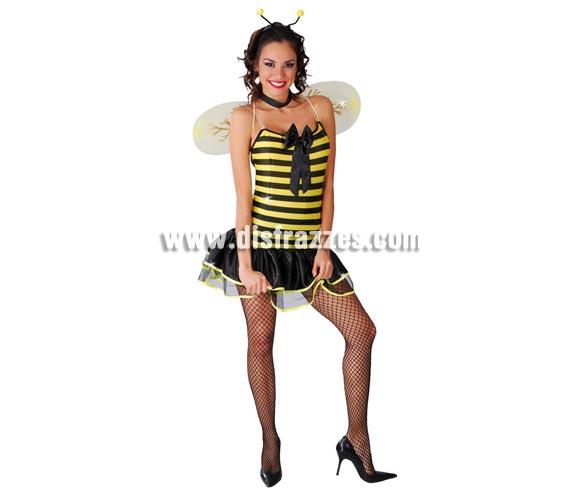 Disfraz sexy de Abejita para mujer. Talla única 38/40. Incluye diadema, vestido y alas.