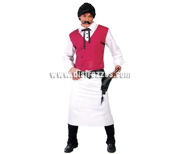 Disfraz de Barman o Camarero del Oeste para hombre. Talla standar 52/54. Incluye camisa con chaleco, pajarita y delantal, el resto lo podrás ver en Complementos.