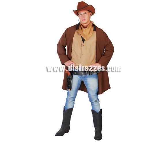 Disfraz de Cow-Boy para hombre. Talla universal de hombre 52/54. Incluye abrigo guardapolvo, chaleco y pañuelo. Resto de artículos NO incluidos, podrás verlos en la sección de Complementos. Disfraz de Pistolero o Vaquero adulto.