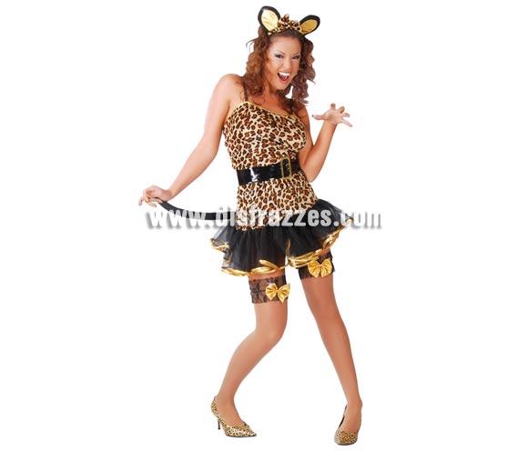 Disfraz de Tigresa sexy para mujer. Talla única 38/40. Contiene diadema, vestido, cinturón y cola.