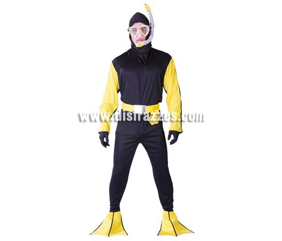 Disfraz de Buzo submarinista para hombre. Talla Universal 52/54. Incluye gafas, cinturón, traje con capucha y aletas.