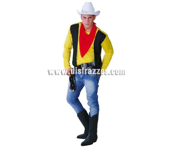 Disfraz barato de Cow-Boy para hombre. Talla universal 52/54. Incluye sólo camisa con chaleco y pañuelo. Comprando éste disfraz, un gorro de vaquero y con unos pantalones vaqueros que todos tenemos en casa y con unas botas, podrás imitar al auténtico Pistolero Vaquero Lucky Luke, el enemigo nº 1 de los Hermanos Dalton, los cuales, si tienes 3 amigos más con ganas de pasarlo bien, podrán disfrazarse con un disfraz de Preso o Presidiario para imitar a los 3 hermanos foragidos. -No olvides ponerte una ramita de hierba en la boca. ¡¡¡Qué buena idea!!!