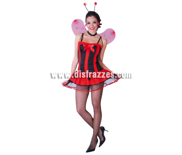 Disfraz de Mariquita Sexy para mujer. Talla única 38/40. Incluye diadema, vestido y alas.