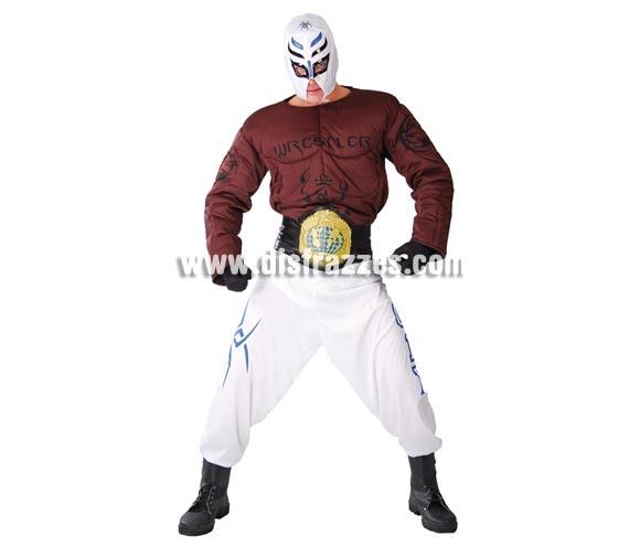 Disfraz de Luchador de lucha libre para hombre. Talla Universal 52/54. Incluye máscara, camisa y pantalón. Con éste disfraz podrás luchar contra El famoso Rey Misterio, jejeje, es broma a ver si te vas a hacer pupita.