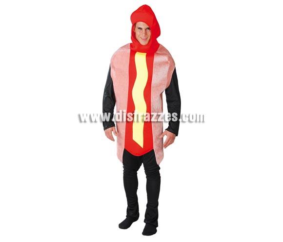 Disfraz de Hot Dog o Perrito Caliente para adultos. Talla Universal adultos. Incluye traje con capucha.