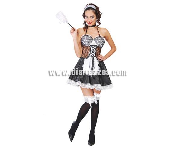 Disfraz de Sirvienta o Doncella sexy para mujer. Talla única 38/40. Incluye cofia, vestido y liga. Plumero NO incluido, podrás verlo en la sección de Complementos.
