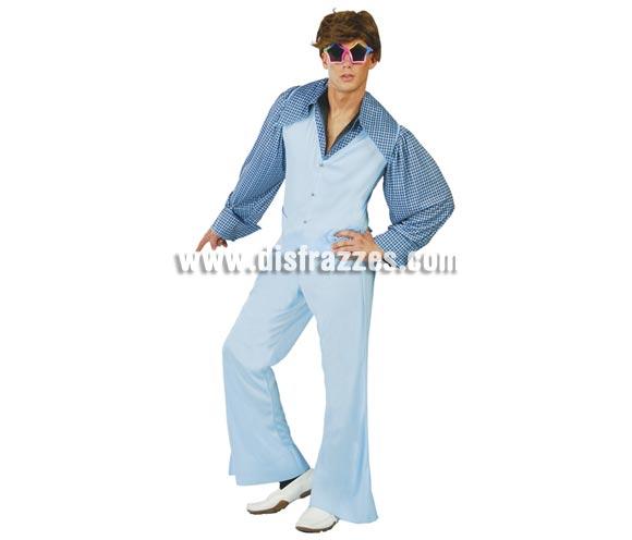 Disfraz de Chico de los Años 60 para hombre. Talla Universal 52/54. Incluye camisa, chaleco y pantalón. Disfraz de Discotequero Studio 54 para chicos, para bailar como en la película Fiebre del sábado noche.