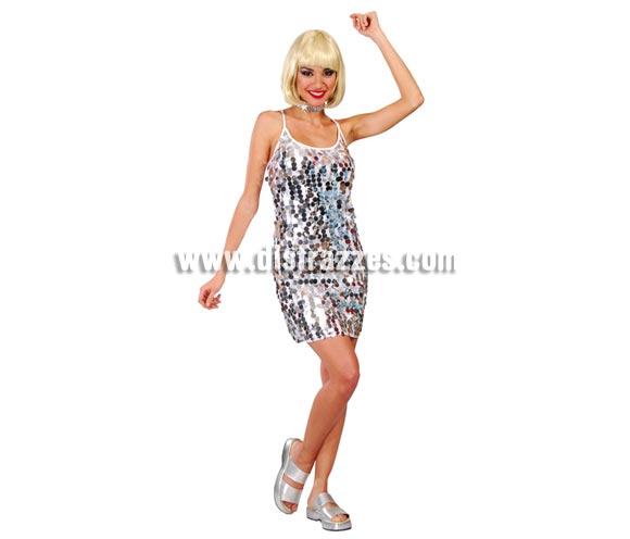 Disfraz Años 60 para mujer. Talla Universal válida hasta la 42/44. Incluye cinta del cuello y vestido.