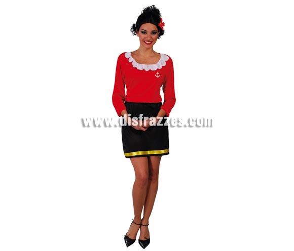 Disfraz de Olivia mujer de Popeye para chica. Talla única válida hasta la 42/44. Incluye vestido completo de una pieza.