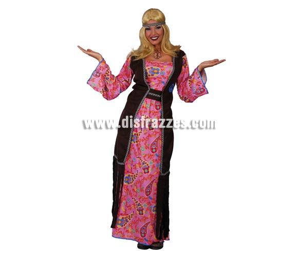 Disfraz de mujer Hippie vestido largo para mujer. Talla única válida hasta la 42/44. Incluye cinta de la cabeza, chaleco, vestido y cinturón. Un disfraz muy Hippie de la época.